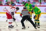 Exhibiční utkání legend v repríze finále z roku 1998 mezi HC Železárny Třinec - Petra Vsetín, 8. listopadu 2019 v Třinci. Zleva Richard Král a Rostislav Vlach.