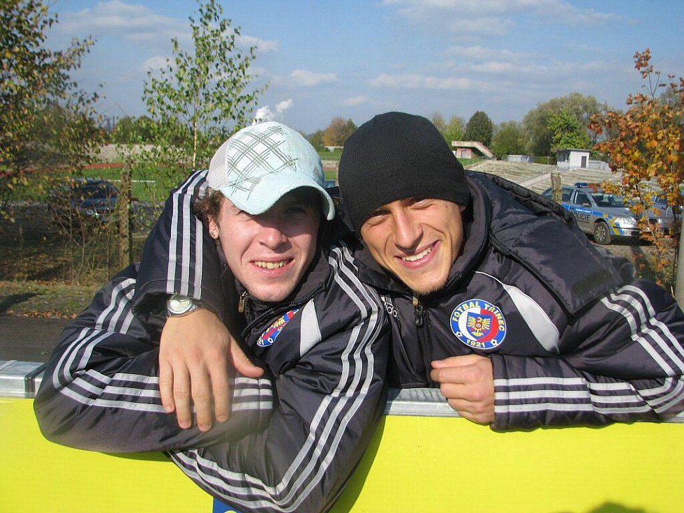Fotbalisté Třince Petr Stýskala (vlevo) a Petr Lisický.