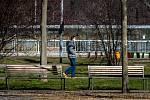 Třinec v celostátní karanténě (Náměstí T. G. Masaryka), 25. března 2020. Vláda ČR vyhlásila dne 15.3.2020 celostátní karanténu kvůli zamezení šíření novému koronavirové onemocnění (COVID-19).