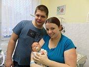 Vojtěch Pyszko s rodiči, Návsí, nar. 1. 1., 53 cm, 3,88 kg, Nemocnice Třinec.