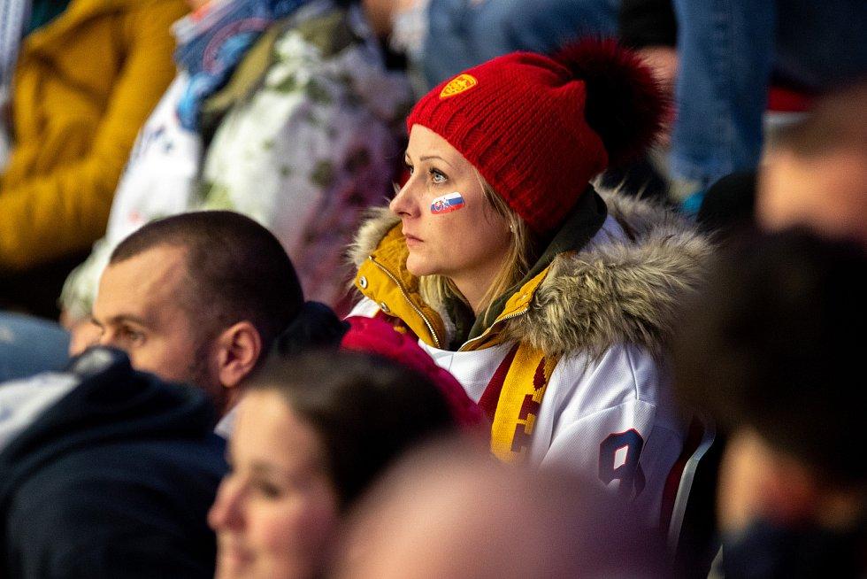 Mistrovství světa hokejistů do 20 let, skupina A: Švédsko - Slovensko, 31. prosince 2019 v Třinci. Na snímku fanoušci.
