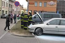 Šokovaná majitelka vozu (zcela vlevo) musela přivolat hasiče.