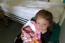 Mia Pilchová se sestřičkou, Nýdek, nar. 15.10., 53 cm, 3,68 kg, Nemocnice Třinec.