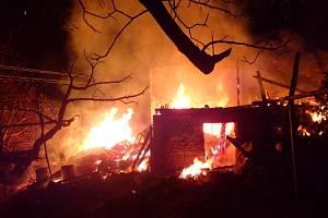 Požár v Dolní Lomné na Jablunkovsku.