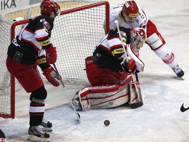Extraligové utkání HC Oceláři Třinec - Mountfield Hradec Králové.