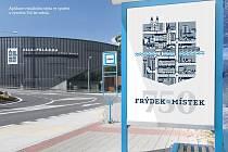 Příklad použití vítězného návrhu loga města Frýdku-Místku autora Štěpána Holiče.