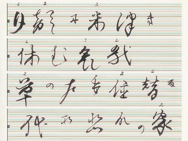 YASUNAO TONE, kaligrafická partitura sinstrukcemi. Jedna zvystavených prací na výstavě Membra Disjecta pro Johna Cage.