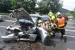 Zásah hasičů u dopravní nehody.