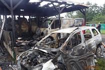 Požár garáží v místní části Bahno-Příkopy.