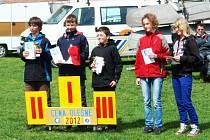 Nejlepší jachtaři ve třídě Optimist na víkendových závodech na přehradě Olešná ve Frýdku-Místku.