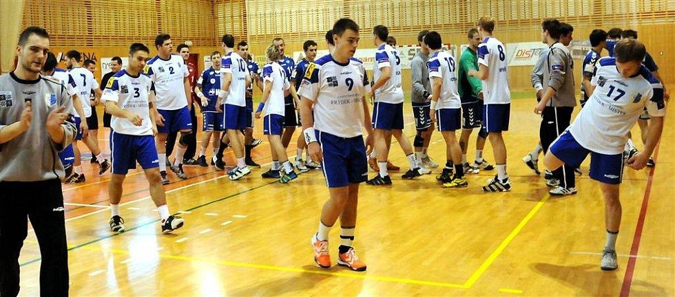 Extraligoví házenkáři SKP Frýdek-Místek v utkání s Plzní.
