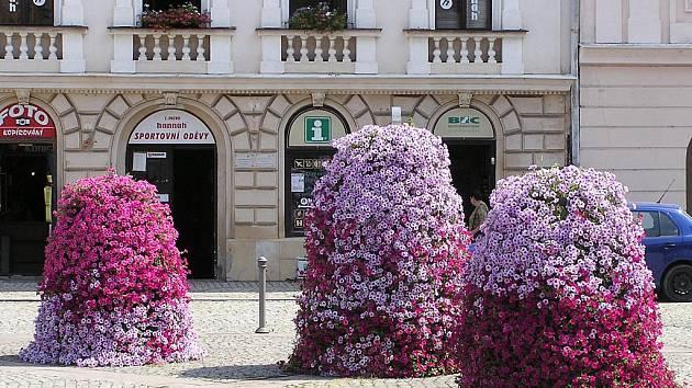 Náměstí v Místku zdobí květinové pyramidy. Ilustrační foto.