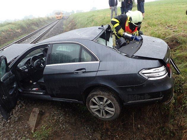 Zásah hasičů u nehody na železnici v Horních Tošanovicích.