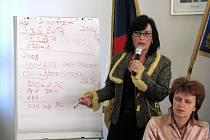 Starostka Věra Palkovská u tabule propočítává náklady na projekt revitalizace. Odhady se neustále mění, jisté však je, že EU slíbila dotaci 26 milionů eur.
