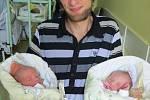 Matyáš a Natálie Kacarovi, Nošovice, nar. 14.8., Matyáš 49 cm, 2,88 kg a Natálie 48 cm, 2,84 kg, Nemocnice ve Frýdku-Místku.