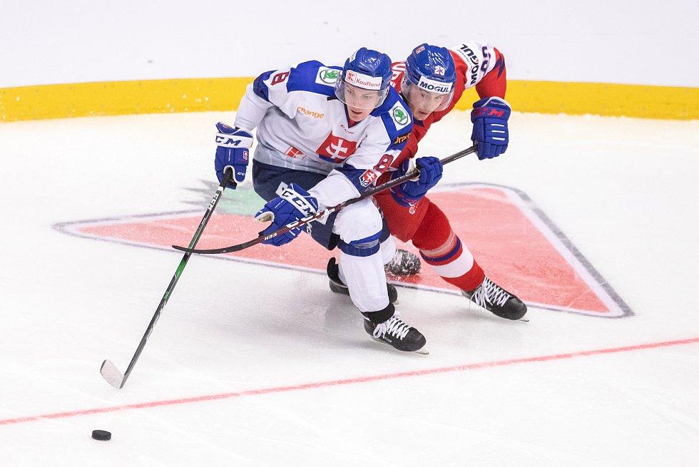Přípravný zápas před MS U20 Česká republika - Slovensko, 22. prosince 2019 v Třinci. Na snímku (zleva) Oliver Okuliar, Šimon Kubíček.