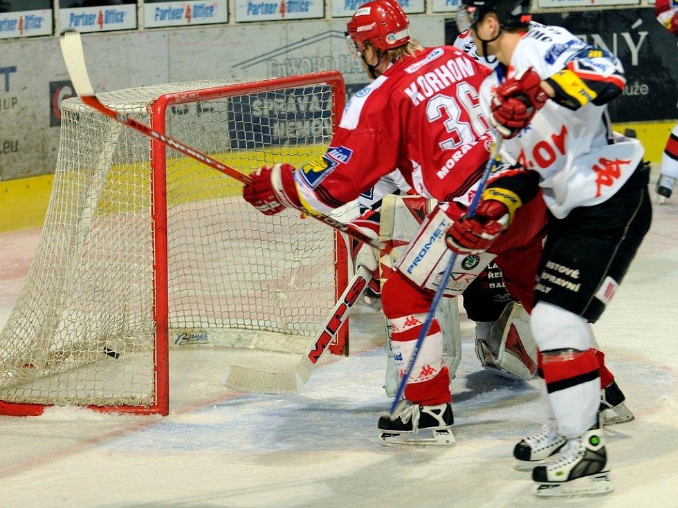 Lubomír Korhoň střílí třetí branku Třince.