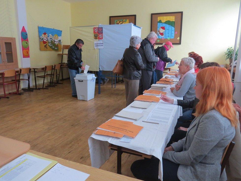 Příprava a start! Před volebními místnostmi na místecké 6. základní škole voliči postávali už několik minut před začátkem. Snímky zachycují první chvíle voleb v okrsku číslo padesát.