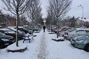 Sněžení ve Frýdku-Místku, úterý 8. ledna.