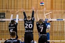 První derby regionálních rivalů v novém ročníku extraligy volejbalistů vyhrály Beskydy, které doma porazily Ostravu 3:2.