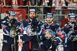 Finále play off hokejové extraligy - 6. zápas HC Oceláři Třinec - Bílí Tygři Liberec, 28. dubna 2019 v Třinci. Na snímku tým Liberce.
