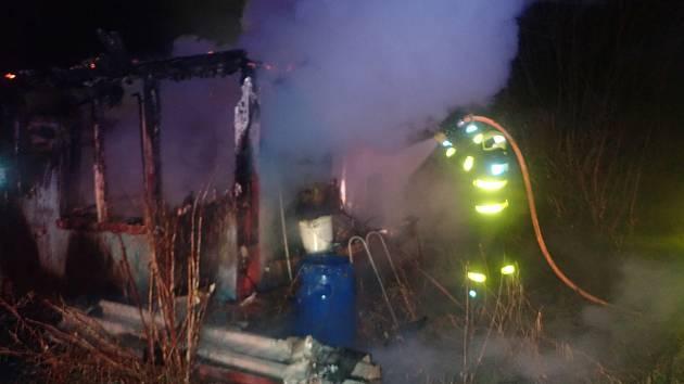 Celkem čtyři jednotky profesionálních a dobrovolných hasičů zasahovaly v neděli 3. ledna ráno u požáru dřevěné boudy a plechového přístavku v obci Dolní Sklenov v okrese Frýdek-Místek. V místě požáru bylo nalezeno lidské tělo.