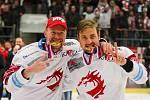 Jiří Polanský (vpravo) se s Martinem Adamským raduje z mistrovského titulu v roce 2019.