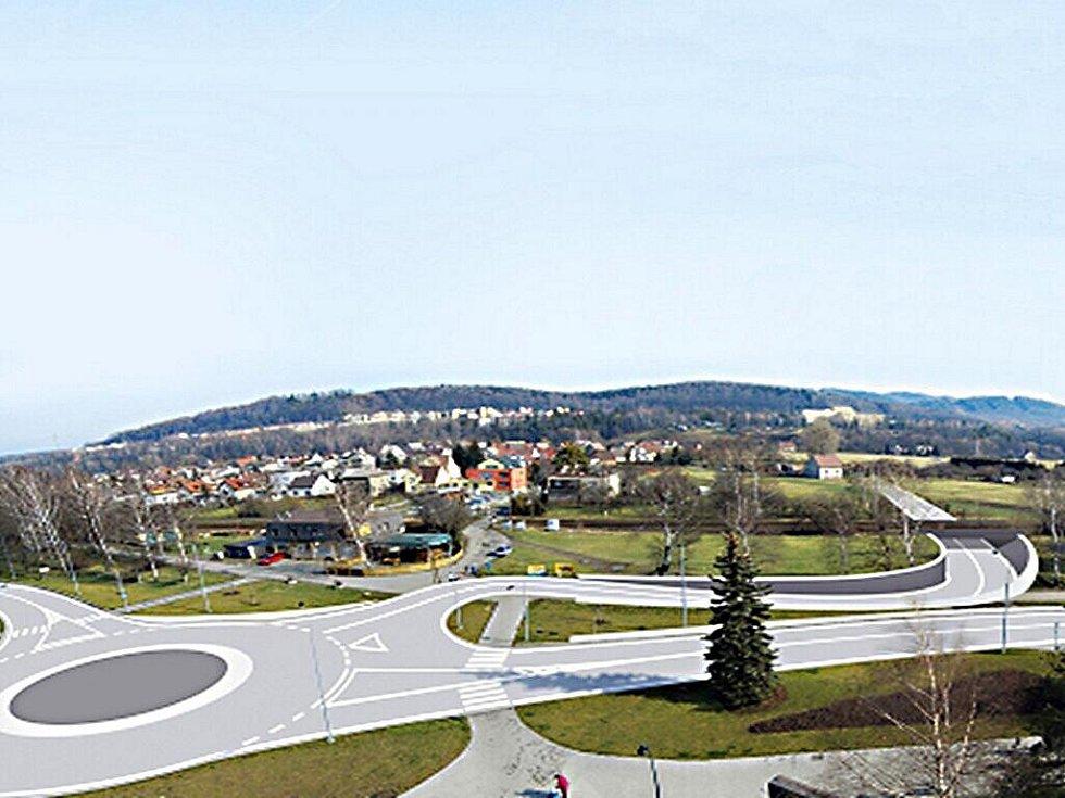 Vizualizace podjezdu Via Lyžbice v lokalitě pod náměstím TGM.