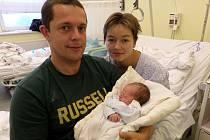 David Bocek s maminkou a tatínkem, Třinec, nar. 20. 10., 50 cm, 3,13 kg, Nemocnice Třinec.