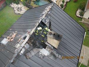 Požár podkroví rodinného domu v Kozlovicích