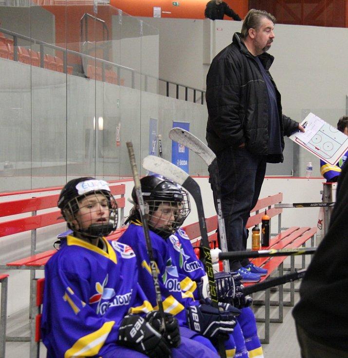 Turnaj v ledním hokeji Škoda Hockey Cup. Utkání Moravskoslezského kraje (bílé dresy) s Olomouckým krajem.