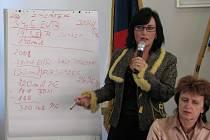 Starostka Věra Palkovská u tabule vypočítává rozdíl mezi cenou revitalizace v roce 2006 a dnes.