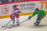 Exhibiční utkání legend v repríze finále z roku 1998 mezi HC Železárny Třinec - Petra Vsetín, 8. listopadu 2019 v Třinci. Zleva Petr Folta a Tomáš Jakeš.