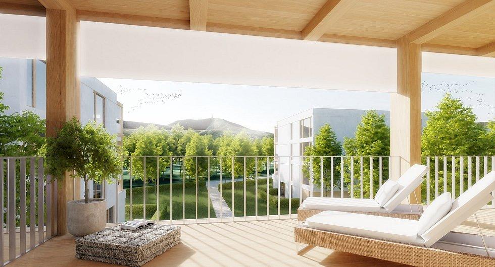 Vizualizace nových bytových domů v lokalitě motelu Panorama.