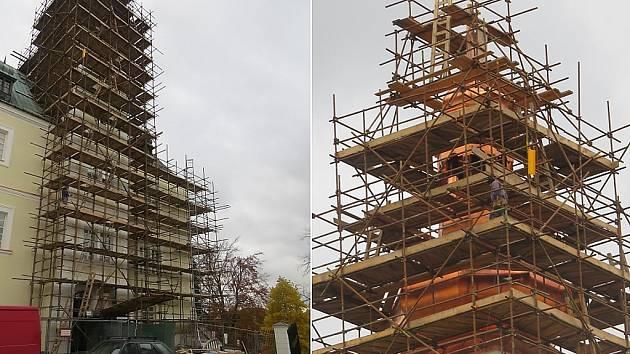 Nový kabát dostala jak část fasády, tak kupole zámku.