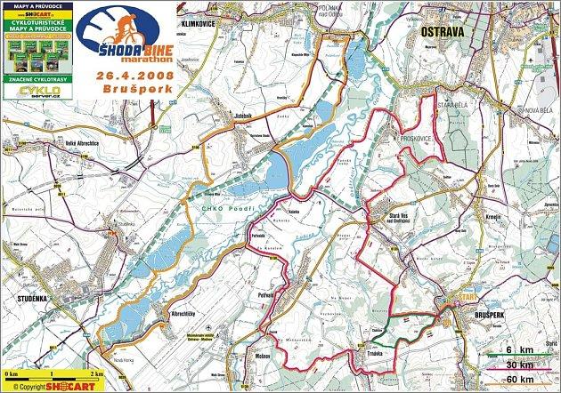Mapa závodu Škodabike marathon 2008.