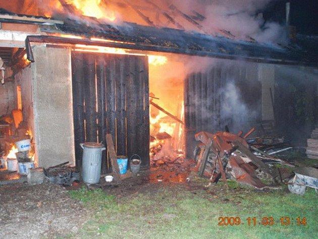 Požár stodoly ve Stříteži.