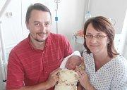 Simona Švarcová s rodiči, Potštát, nar. 29. 8., 53 cm, 4 kg. Nemocnice ve Frýdku-Místku.