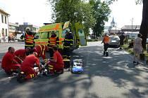 Nehoda motocyklisty v Kozlovicích.