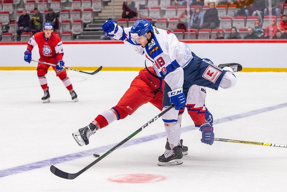 Přípravný zápas před MS U20 Česká republika - Slovensko, 22. prosince 2019 v Třinci. Na snímku Viktor Ďurina.