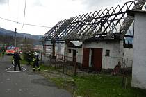 Požár hospodářského stavení v Hrádku