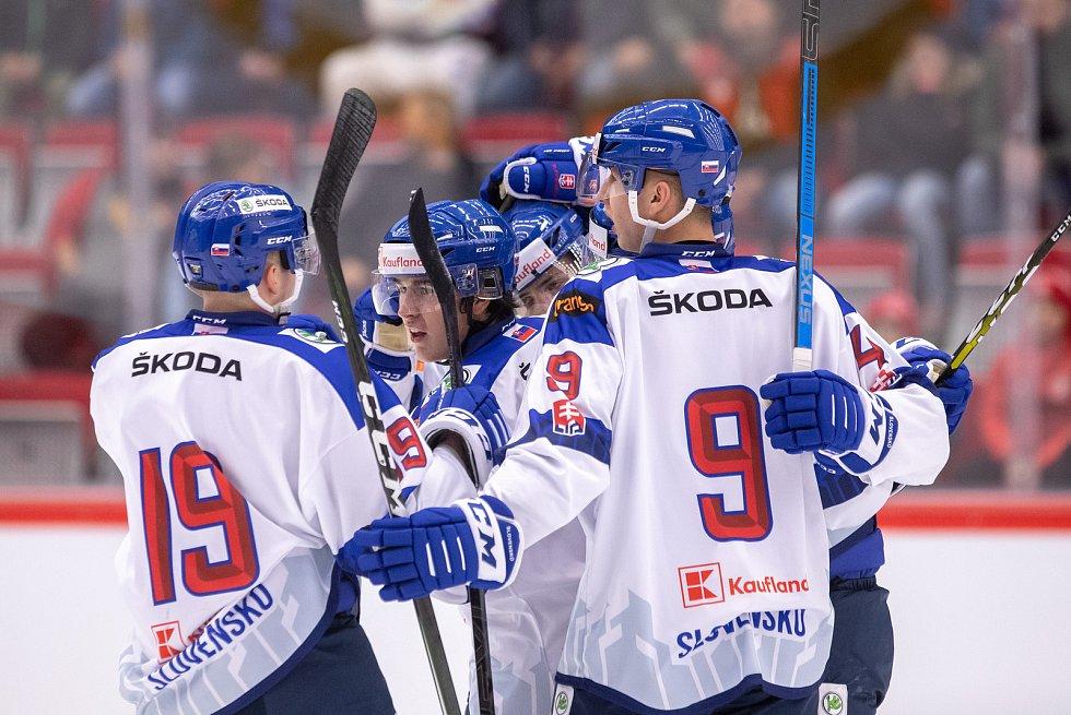 Přípravný zápas před MS U20 Česká republika - Slovensko, 22. prosince 2019 v Třinci. Na snímku tým Slovenska.