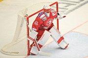 Utkání 2. kola hokejové extraligy: HC Oceláři Třinec - HC Plzeň (10. září 2017), Šimon Hrubec z Třince.