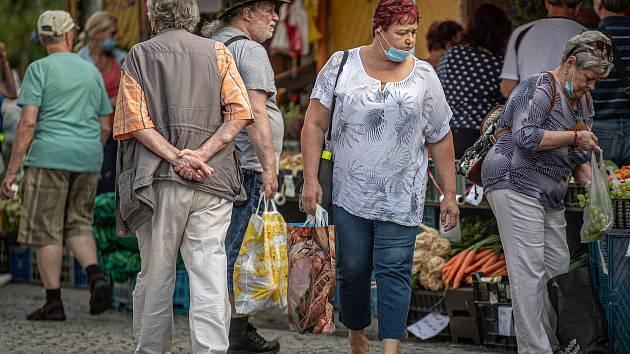 Trhy na Antonínově náměstí, 25. srpna 2020 ve Frýdku-Místku.