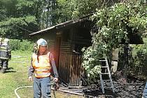 Snímek z místa požáru v Čeladné