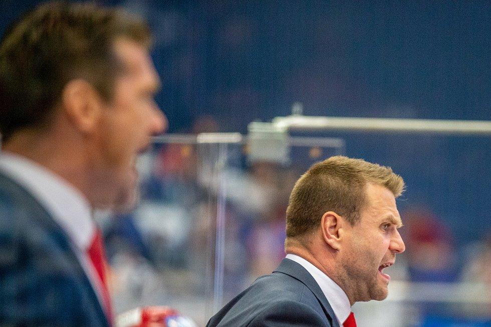 Utkání 33. kola hokejové extraligy: HC Vítkovice Ridera - HC Oceláři Třinec, 17. září 2019 v Ostravě. Trenér Třince Václav Varaďa.