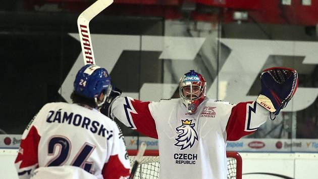 Patrik Bartošák se raduje z vychytané nuly proti Švédům.