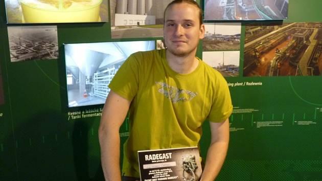 Jubilejní návštěvník Michael Carbol v pivovaru Radegast.
