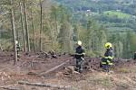 Požár na prudkém svahu beskydského masivu Ondřejník v Pstruží na Frýdecko-Místecku.  Sobota 3. října 2020.