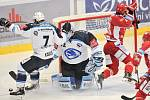 Utkání 2. kola hokejové extraligy: HC Oceláři Třinec - HC Plzeň (10. září 2017), zleva Petr Kadlec, Miroslav Svoboda a Jiří Polanský z Třince.